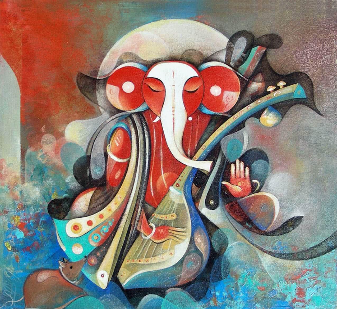 Figurative Acrylic Art Painting title Shree Ganesha by artist M Singh