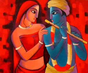 Figurative Acrylic Art Painting title 'Krishna With She' by artist Sekhar Roy