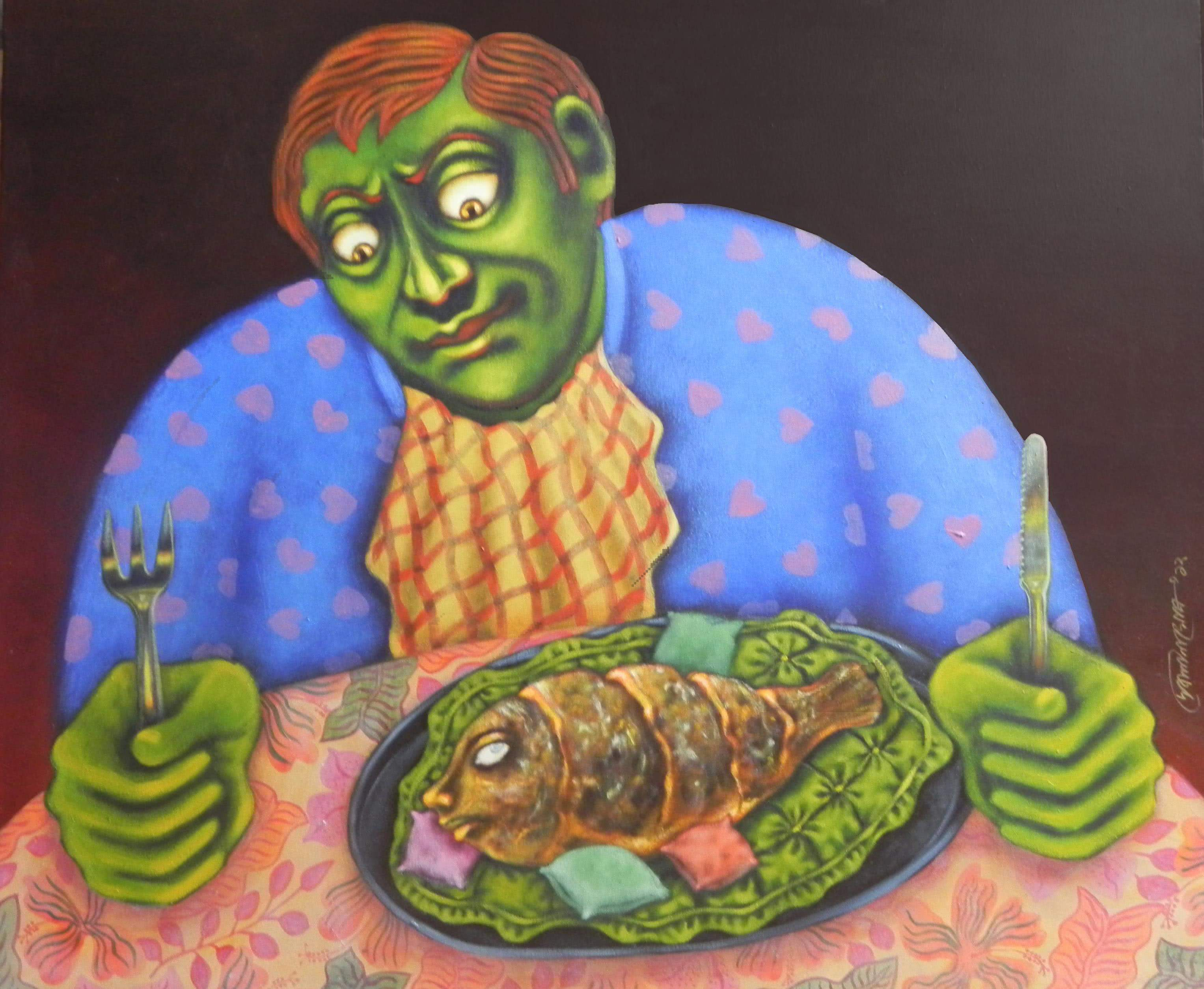 Figurative Acrylic Art Painting title 'BHOG' by artist Deblina Ghosh