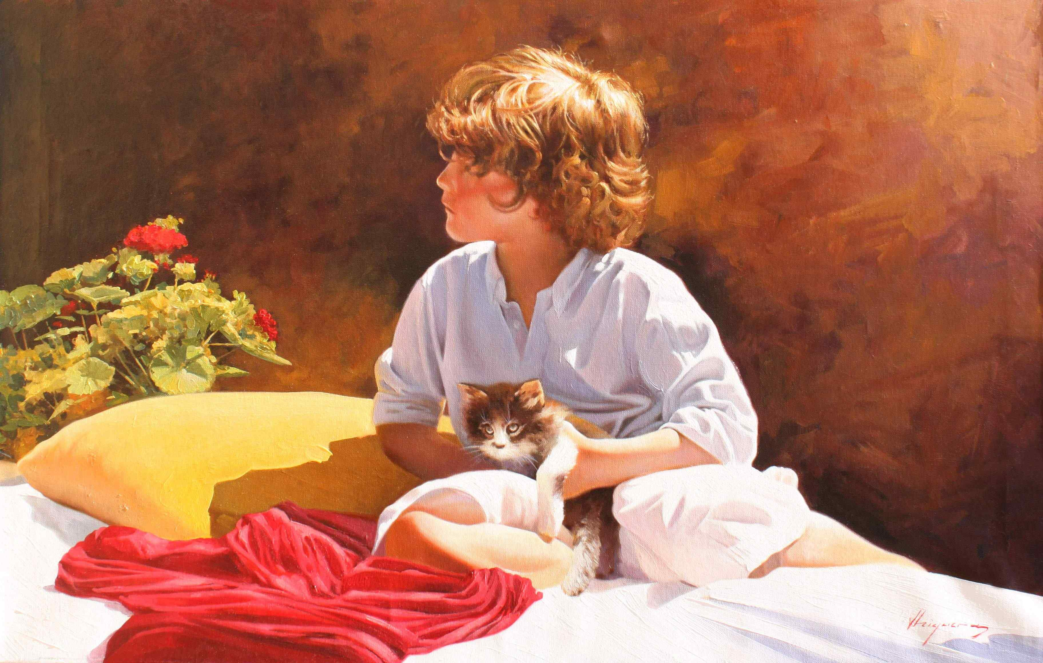 Jose Higuera | Oil Painting title Where are you looking at on Canvas | Artist Jose Higuera Gallery | ArtZolo.com