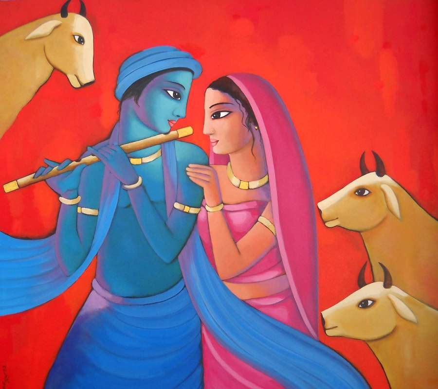 Sekhar Roy | Acrylic Painting title Krishna With She (iii) on Canvas | Artist Sekhar Roy Gallery | ArtZolo.com