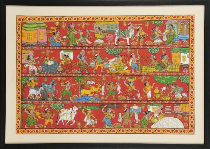 Cheriyal painting by Kalaviti arts | Village scene