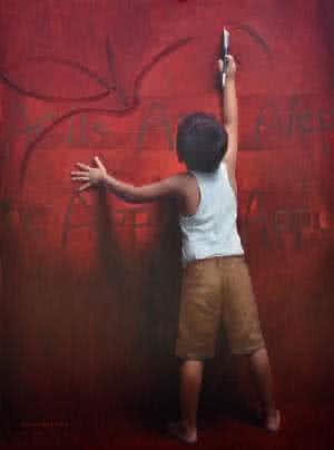 Child Painting by Pramod Kurlekar