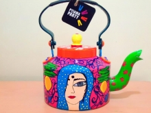 Home style Craft-Handpainted Tea Kettle by Rithika Kumar