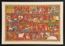 Cheriyal painting by Kalaviti arts | Village scene