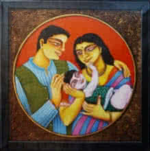 Figurative Acrylic Art Painting title Family 2 by artist Gautam Mukherjee