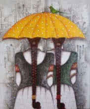 Figurative Acrylic Art Painting title 'Yellow Umbrella' by artist Kappari Kishan