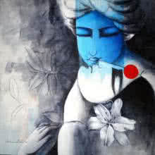 Figurative Acrylic Art Painting title Eternal Love by artist Kamal Nath