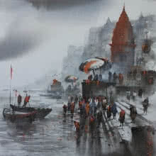 Banaras Ghat 24 | Painting by artist Ashif Hossain | acrylic | Canvas