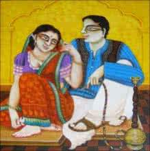 art, painting, kalighat, bengali, couple, romantic, original, acrylic, canvas