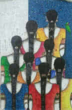 Kappari Kishan | Acrylic Painting title Friends III on Canvas | Artist Kappari Kishan Gallery | ArtZolo.com