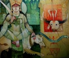 Durga | Painting by artist Arun Samadder | oil | Canvas