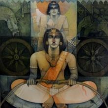 Arjuna O Krishna In Kurukshetra | Painting by artist Arun Samadder | oil | Canvas