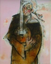 Figurative Oil Art Painting title In Tune 7 by artist Ajay Deshpande