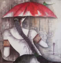 Girl with Red Umbrella | Painting by artist Kappari Kishan | acrylic | Canvas