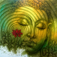Religious Oil Art Painting title 'Lord Buddha' by artist Prince Chand
