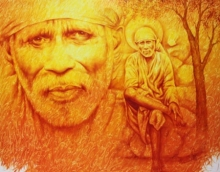 Religious Oil Art Painting title Sai Baba by artist Prince Chand
