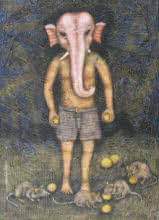 Religious Tempera Art Painting title I Am Ganesh by artist Sudip Das