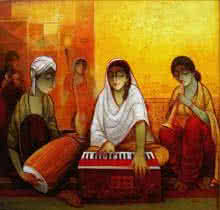 Figurative Acrylic Art Painting title 'Indian Musicians' by artist Ram Onkar