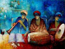Indian Musicians III | Painting by artist Ram Onkar | acrylic | Canvas