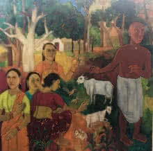 Laxma Goud | Oil Painting title Untitled on Canvas | Artist Laxma Goud Gallery | ArtZolo.com