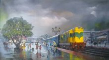 Wet Platform - Yellow Train | Painting by artist Bijay Biswaal | Acrylic | Canvas