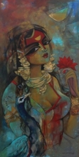 Woman With Pecock | Painting by artist Rajeshwar Nyalapalli | acrylic | Canvas