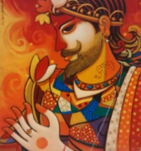 Figurative Acrylic Art Painting title King by artist Avinash Deshmukh