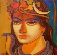 Religious Acrylic Art Painting title 'Shiva 1' by artist Avinash Deshmukh