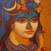 Religious Acrylic Art Painting title 'Shiva 2' by artist Avinash Deshmukh