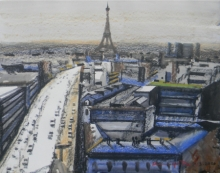 Cityscape Mixed-media Art Painting title 'From 20th Floor In Paris' by artist Bipul Roy