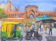 Cityscape Watercolor Art Painting title 'Jama Masjid Delhi' by artist Bipul Roy
