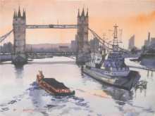 Cityscape Watercolor Art Painting title 'London' by artist Bipul Roy