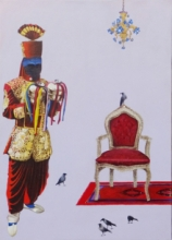 Figurative Acrylic Art Painting title 'Waiting For King' by artist Anil Kumar Bodwal