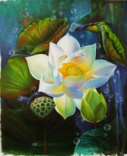 Nature Acrylic-oil Art Painting title 'Lotus 2' by artist Pradeep Kumar