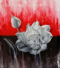 Nature Acrylic-oil Art Painting title 'Lotus 3' by artist Pradeep Kumar