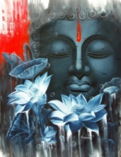 Religious Oil Art Painting title 'Meditation' by artist Pradeep Kumar