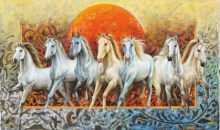 Animals Oil Art Painting title Rising Horses by artist Pradeep Kumar