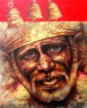 Religious Acrylic Art Painting title 'Sai' by artist Pradeep Kumar