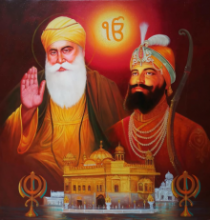 Religious Oil Art Painting title 'Satnaam Waheguru' by artist Pradeep Kumar