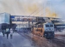 Cityscape Watercolor Art Painting title 'Engine' by artist Bijay Biswaal