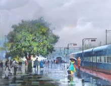 Wet Platform 75 | Painting by artist Bijay Biswaal | acrylic | Canvas