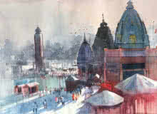 Haridwar | Painting by artist Bijay Biswaal | watercolor | Paper