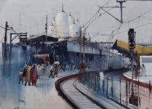 art, painting, watercolor, paper, place, kanpur central