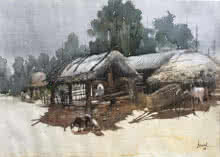 Odisha Village 2 | Painting by artist Bijay Biswaal | watercolor | Paper