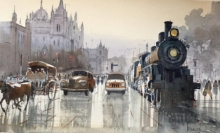 Bijay Biswaal | Watercolor Painting title Old Mumbai on Paper | Artist Bijay Biswaal Gallery | ArtZolo.com
