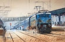 Bijay Biswaal | Watercolor Painting title Platform 1 on Paper | Artist Bijay Biswaal Gallery | ArtZolo.com