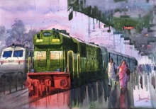 Bijay Biswaal Paintings | Watercolor Painting - Platform 23 by artist Bijay Biswaal | ArtZolo.com