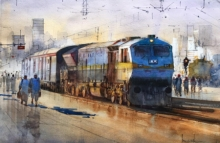 Bijay Biswaal Paintings | Watercolor Painting - Platform 25 by artist Bijay Biswaal | ArtZolo.com