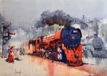 Red Steam Loco | Painting by artist Bijay Biswaal | watercolor | Paper